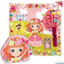 Puzzle dřevěné - Květinová princezna, 54ks (Vilac)