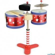 Hudba - Bubny dětské na stojanu s činely (Vilac)