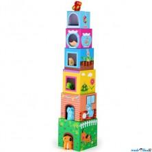 Pyramida z kartónu - Zvířecí domečky, 6 kostek (Legler)