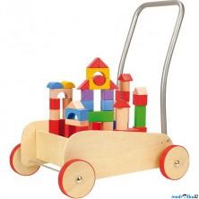 Kostky - Barevné ve vozíku, Chodítko, 50ks (Legler)