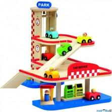 Garáž dřevěná - 2 podlaží + 6 autíček (Bino)