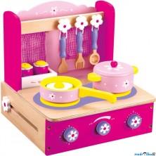 Kuchyň - Vařič dětský s příslušenstvím, růžový (Bino)