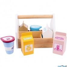 Dekorace prodejny - Mléčné výrobky v přepravce, 6ks (Bigjigs)