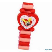 Dřevěná bižuterie - Hodinky červené srdce (Bino)