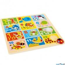 Puzzle výukové - Počítání na desce, Zoologická zahrada (Legler)