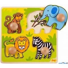 Puzzle pro nejmenší - Úchyt, Safari, 4ks (Bigjigs)