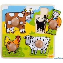 Puzzle pro nejmenší - Úchyt, Farma, 4ks (Bigjigs)