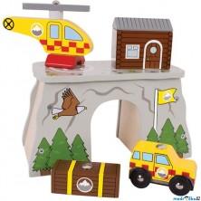 Vláčkodráha tunely - Horská služba s heliportem (Bigjigs)