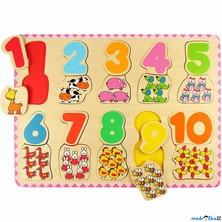 Puzzle výukové - Počítání a barvy na desce (Bigjigs)