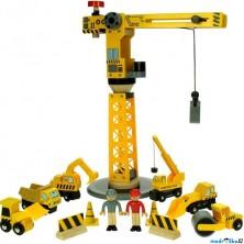 Vláčkodráha jeřáby - Jeřáb velký a stavební stroje (Bigjigs)