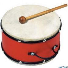 Hudba - Buben dřevěný červený, kůže, 18cm (Goki)