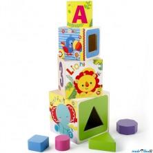Pyramida - Věž ze 4 kostek, Zvířátka (Fisher-Price)