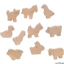 Zvířátka dřevěné - Přírodní k vymalování, 10ks (Goki)