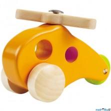 Vrtulník - Dřevěný žlutý na kolečkách (Hape)