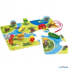 Navlékání tvarů - Hrací set s podložkou, Safari (Hape)