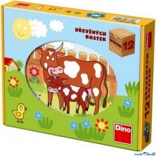 Kostky obrázkové 12ks - Domácí zvířátka (Dino)