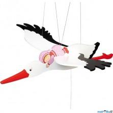 Závěsná hračka - Čáp a růžové miminko (Goki)