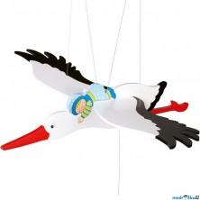 Závěsná hračka - Čáp a modré miminko (Goki)