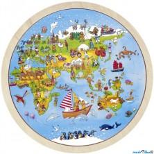 Puzzle dřevěné - Cesta kolem světa, 56ks (Goki)