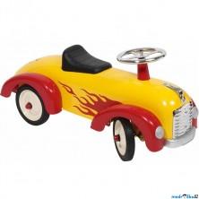 Odrážedlo kovové - Historické závodní auto, žluté s plamenem (Goki)