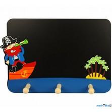 Věšák dřevěný - Trojvěšák, Pirát s tabulkou na psaní (Bigjigs)