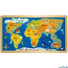 Puzzle na desce - Mapa Světa, 24ks (Legler)
