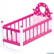 Kolébka pro panenky - Růžová s peřinkami (Bino)