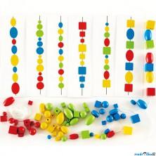 Navlékání tvarů - Logická hra s korálky (Hape)