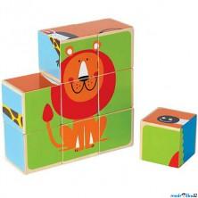 Kostky obrázkové 9ks - Zvířátka v ZOO (Hape)