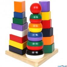 Skládačka - Nasazování na tyč, Pyramida 3v1 (Legler)