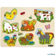 Puzzle muzikální - Domácí zvířata, 7ks (Woody)