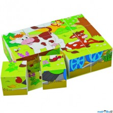 Kostky obrázkové 12ks - Zvířátka v ročních obdobích (Woody)