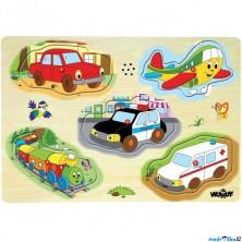 Puzzle muzikální - Dopravní prostředky, 5ks (Woody)