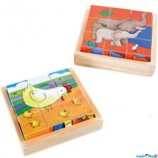 Kostky obrázkové 9ks - Farma a ZOO, 2 x 9 kostek (Legler)