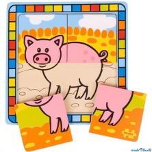 Puzzle pro nejmenší - Na desce, Prase (Bigjigs)