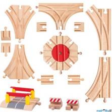 Vláčkodráha koleje - Set kolejí s přejezdem a točnou, 15ks (Woody)