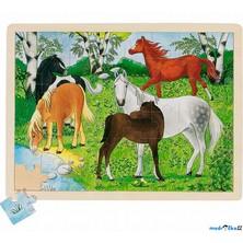 Puzzle na desce - Velké A3, Koně, 48ks (Goki)