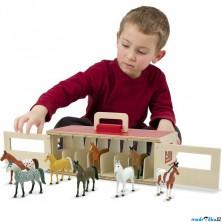 Stáj dřevěná - Přenosná s koníky (M&D)