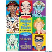 Samolepky - Vytvoř obličej, Bláznivé obličeje, 160ks (M&D)