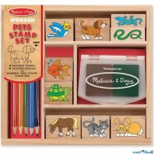 Razítka dřevěná - Set domácí zvířátka (M&D)