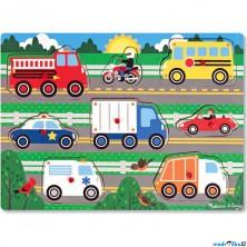 Puzzle vkládací - Dopravní prostředky, 8ks (M&D)