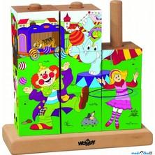 Kostky obrázkové na tyči 9ks - Mašinka - Cirkus (Woody)