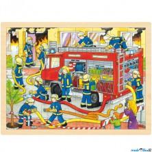 Puzzle na desce - Velké A3, Hasiči, 48ks (Goki)