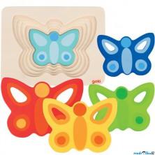 Puzzle vícevrstvé - Motýl II, 5 vrstev (Goki)