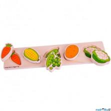 Puzzle pro nejmenší - Vkládačka dlouhá, Zelenina (Bigjigs)