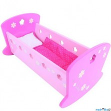 Kolébka pro panenky - Růžová s peřinkami (Bigjigs)