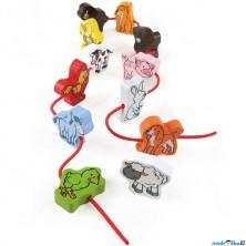 Navlékání tvarů - Zvířátka z farmy v tubě, 12ks (Hape)