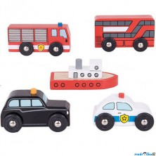 Vláčkodráha auta - Městské auta, 5ks (Bigjigs)