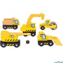 Vláčkodráha auta - Stavební stroje, 5ks (Bigjigs)