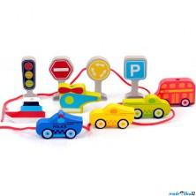 Navlékání tvarů - Dopravní prostředky, 10ks (Mi Toys)